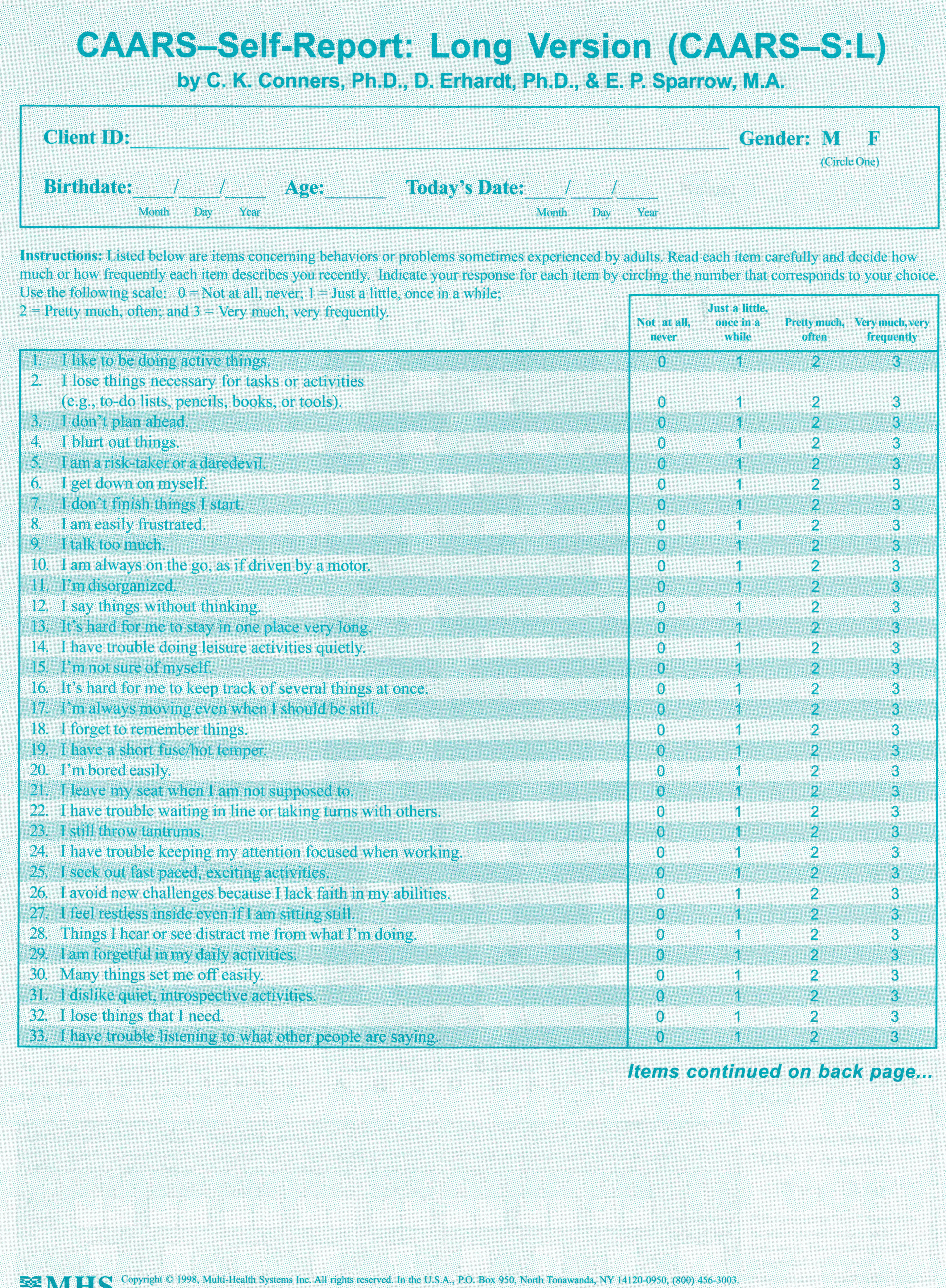 Conners CAARS Adult ADHD Rating Scales - CAARS-S-L Quikscore Forms