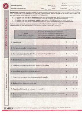 Conners 3 ADHD Index (AI) Spanish Padres QuikScore Forms
