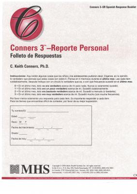 Conners 3 Reporte Personal Response Booklets Spanish