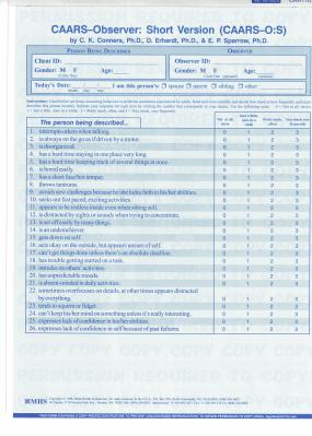 Conners CAARS Adult ADHD Rating Scales - CAARS-O-S Quikscore Forms