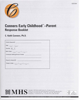 Conners Early Childhood Parent Response Booklets