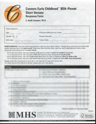 Conners Early Childhood Parent Behavior Forms