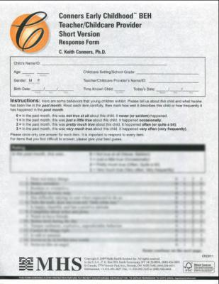Conners Early Childhood Short Teacher Behavior Forms